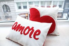 Big Red Heart Pillow Valentine's Day Decor by HoneyPieDesign