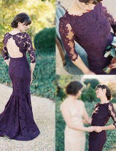 Grape Bridesmaid Dress, Half Sleeves Bridesmaid Dress,Mermaid Bridesmaid Dress, Sweep Train Bridesmaid Dress, Lace Open Back Bridesmaid Dress, PD02 #fashion#bridesmaiddress#promdress#eveningdress#cocktaildress#promgown