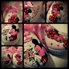 Mickey y Minnie Mouse, zapatillas pintadas a mano