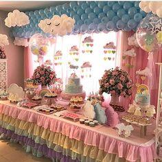 """Renata on Instagram: """"E em 2o. lugar das mais curtidas de 2017, essa linda decoração da querida @triciasantos1!!! #festachuvadebencaos #festacandycolor…"""" • Instagram"""