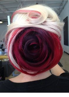 Red and blonde dyed rose inspired hair
