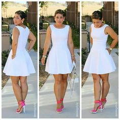 Loving this white dress paired w/hot pink strappy heels!