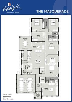 Ross North Homes The Masquerade Floor Plan House Layout Plans, Family House Plans, Bedroom House Plans, New House Plans, Dream House Plans, House Layouts, Duplex Floor Plans, House Floor Plans, Single Storey House Plans