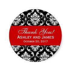 Red, Black Wedding Damask Thank You Label Sticker