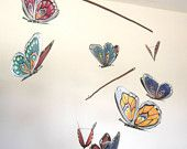 Butterfly Mobiles - Handmade - Blue, Yellow, Green, Red