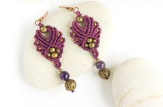 Micro macrame earrings with amethysts boho by DancingDakiniWear
