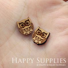 4pcs SWC52 DIY Laser Cut Wooden Owl Charms