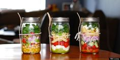 Mason jar salads! This pin is gold. I need mason jars anyway so I'm doing this. I'll prob have to wait till after our trip but that is a-ok!!:)
