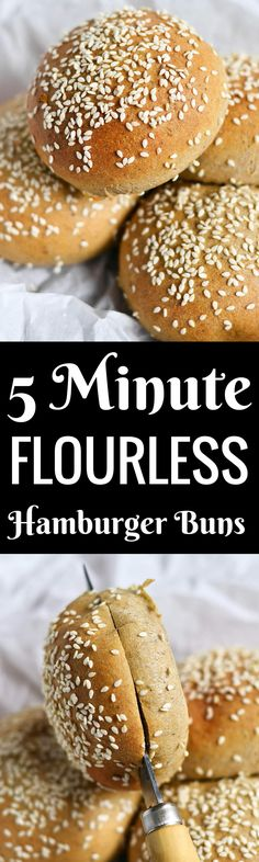 5 Minute Fluffy Flourless Hamburger buns: gluten free