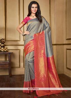 Buy party wear saree online for women. Grab this silk woven work classic saree for festival, party and reception. Traditional Sarees, Traditional Outfits, Latest Designer Sarees, Designer Dresses, Party Wear Sarees Online, Art Silk Sarees, Whatsapp Messenger, Lehenga Choli, Georgette Sarees
