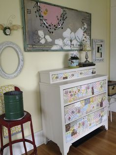 KR-entry-way-DIY-dresser-and-painting....I LOVE the patch work feel of the dresser....how cool with scraps of fabric or even scrap book paper