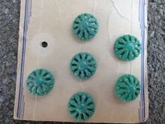 Vintage turquoise bakelite buttons from 1930's  by Threadbender64