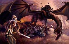 Eowyn confronts the Witch-King, in fine art, by Ryan Valle.