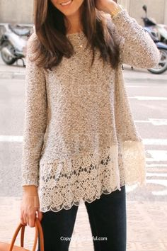 Lace Spliced Hem Long Sleeve Knitwear