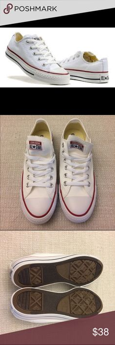 Converse All Star Women shoes size 7 Start your day in style. Brand new. Original converse all Star. White color. Size men 5 / Women 7. Canvas material . Coming with converse shopping bag. Converse Shoes Sneakers