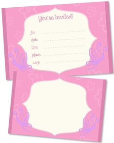 Butterfly Party Invitations - Printable Treats