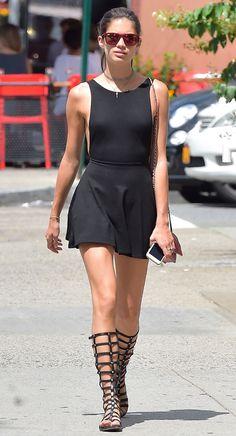 Sara Sampaio from How Celebs Beat the Heat in Style  The Victoria's Secret model shoes us how to do gladiator sandals right—with a short hem line, of course. Also, the side-boob action is probably a little more freeing.