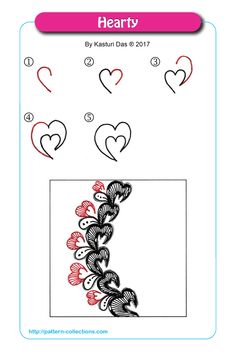 Hearty of Kasturi Das Zen Doodle Patterns, Doodle Art Designs, Zentangle Patterns, Heart Patterns, Zentangle Drawings, Doodles Zentangles, Doodle Drawings, Tangle Doodle, Tangle Art