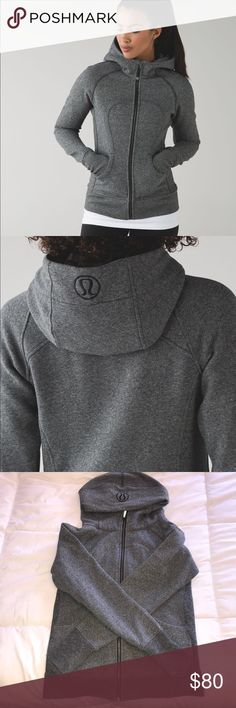 Scuba hoodie Heathered Black. Scuba lV. Super soft terry cotton. Only worn a few times.  New condition! lululemon athletica Tops Sweatshirts & Hoodies