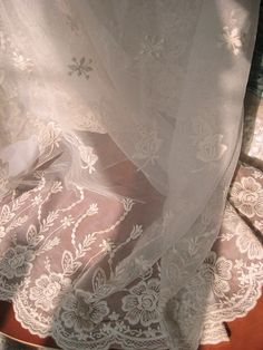 ivory Lace fabric Embroidered tulle lace fabric vintage by LaceFun, $14.90