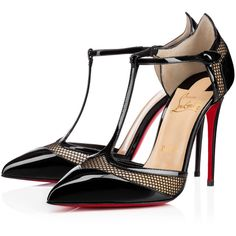 Christian Louboutin Mrs. Early ($895) ❤ liked on Polyvore featuring shoes, pumps, louboutin, heels, black, black t strap pumps, t strap pumps, black shoes, christian louboutin shoes and black heel pumps