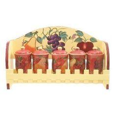 Amazon.com | Crimson Orchard 4pc Canister Set: Kitchen Storage And Organization Product Sets: Dinnerware Sets