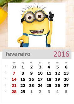 calendário dos minions mês de fevereiro de 2016
