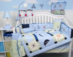 SoHo Baby Sailboat Baby Crib Nursery Bedding Set 13 pcs included Diaper Bag with Changing Pad & Bottle Case For Sale Baby Boy Bedding Sets, Boy Nursery Bedding, Baby Boy Cribs, Baby Pillows, Baby Boy Rooms, Baby Boy Nurseries, Blue Crib, Vanellope, Baby Decor