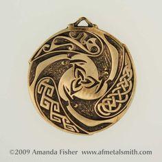 Bronze Triple Raven Triskele Pendant a Celtic by AFMetalsmith, $43.00