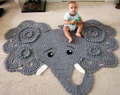 Alfombra elefante elefante de ganchillo ganchillo elefante