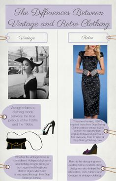 Awesome graphic explaining the differences between vintage and retro clothing! Oh and another great dress giveaway from @Stop Staring! Stop Staring Dress-a-Week Giveaway: Week 4 | Cocktail Dress Blog
