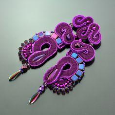 Clip on Long Purble Soutache Earrings - Long Unique Violet Earrings - Clip Unique Purple Earrings - Orecchini Soutache - Long Post Earrings by OzdobyZiemi on Etsy