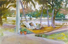 John Singer Sargent: Figure in Hammock, Florida ( 1900s) Water Colour