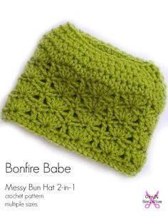 3d8da1e83d6 Bonfire Babe Messy Bun Hat and Beanie 2-in-1 by Mistie Bush for