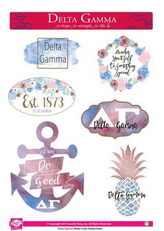"""Get your """"Greek On"""" with these high quality, Water Color stickers! Each sheet contains 7 stickers that are unique to your sorority. Printed on sturdy vinyl, they are easily removed or repositioned lea"""