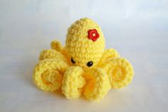 Amigurumi Octopus Crocheted in Yellow