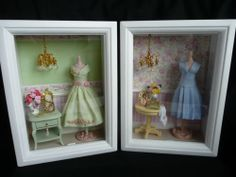 Dollhouse Miniature 1:12th Scale White Shadow Boxes