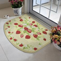 Strawberry Kitchen Rugs   Kitchen semi cirle rugs slip resistant carpet strawberry doormat pad ...