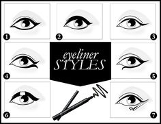 Here are 7 creative ways for you to draw attention to your eyes! Which one is your favorite?   1. Arabian   2. So thick   3. Cat eye   4. Open Wing   5. Drop eye   6. Single   7. Lady Gaga cp : 085649344520. twitter : @ichaayr