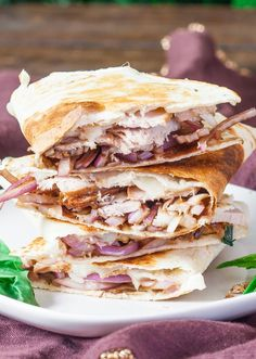 Pork and Balsamic Onion Quesadilla – start the new year with a healthy recipe, only 276 calories for this delicious quesadilla.