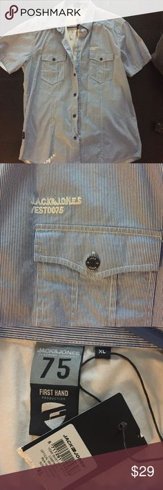 Jack and Jones men's striped button down Jack and Jones men's striped button down. It's been sitting in my husband's closet never worn. Brand new. Jack and Jones Shirts Casual Button Down Shirts