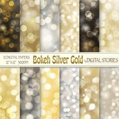 Bokeh Digital Paper BOKEH GOLD SILVER Scrapbook by DigitalStories, €2.80