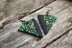 Cherry Pie Earrings Geometric triangle folliage by MyMandarinDucky