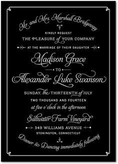 Classy Motif - Signature Custom Wedding Invitations in Black or Cabernet   Jenny Romanski