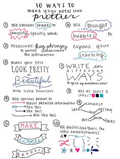 "colourfulstudy: "" studywithpaigey: "" 10 Ways to Make Your Notes Look Prettier, a…"