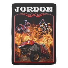 Off Road is more fun personalized boys baby blanket. #motocross #motorcycle #race #fire #trucks #mudding #4wheeling #jeep #offroading