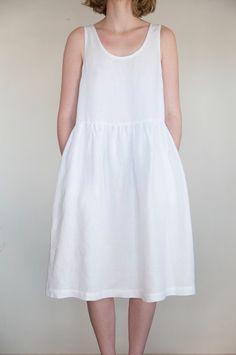Maida Dress - Irish Linen in White Handmade in Ireland www. Slow Fashion, Ireland, Irish, Fashion Outfits, Summer Dresses, Handmade, Inspiration, Clothes, Design