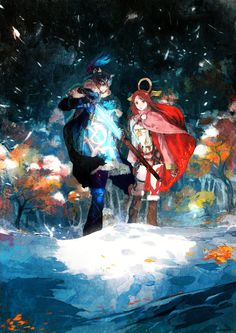 I Am Setsuna - Official art; Ikenie to Yuki no Setsuna Nika's Partners Together