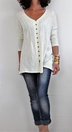 J Jill 100% Cotton L Sleeve Vneck Button Down Burnout Shirt Ivory Sz M #JJill #ButtonDownShirt