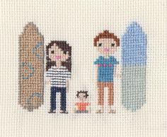 Custom New Baby / Christening Pixel Cross Stitch Portrait (Framed). $40.00, via Etsy. Scarlet Pyjamas